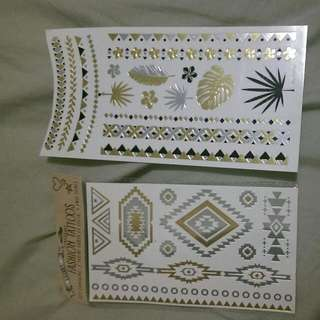 Temporary Gold, Silver And Black Tattoos