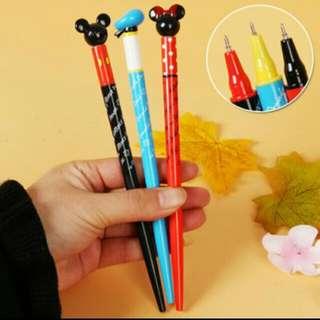 迪士尼Disney 米奇米妮唐老鴨造型蓋子原子筆