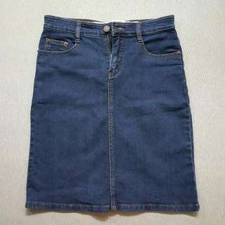 🚚 韓系牛仔裙(深藍)