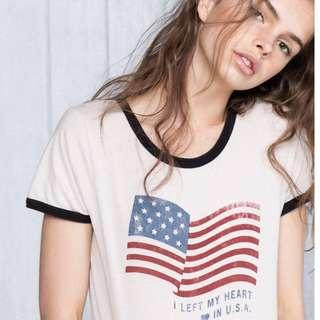 💦降價!💦 Pull&Bear left my heart in USA Top t恤