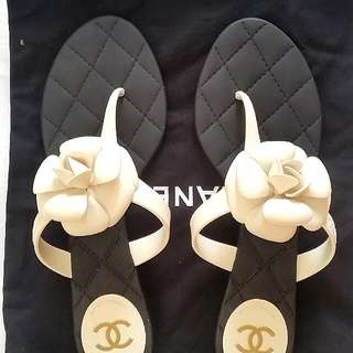 6b1f7f78c95be FINAL SALE Chanel Camellia Flip Flop Sandal Slippers 40   41