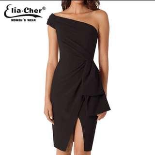 Black One-Shoulder Dress. Size M