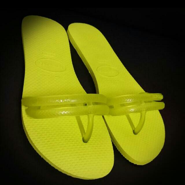 巴西(全新)螢光綠拖鞋