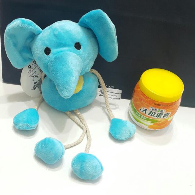 【全新】寵物用狗狗布料有聲啾啾玩具(綿繩大象)