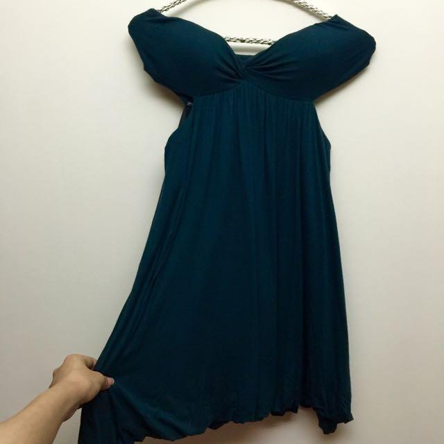 美國🇺🇸購回性感平口露腰墨綠色小洋裝