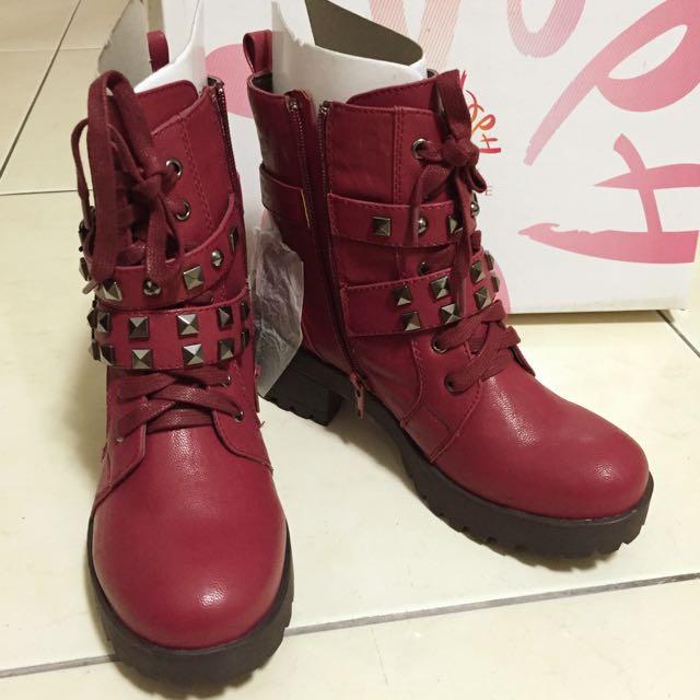 達芙妮-玫紅馬丁鞋