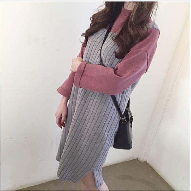 坑條紋針織背心裙😻