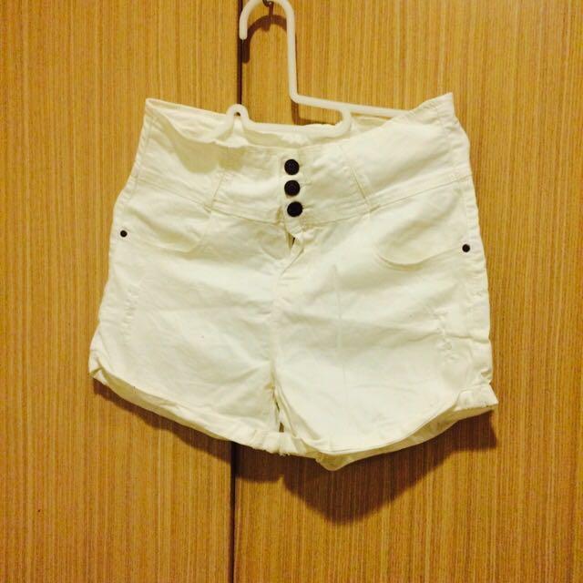 高腰白色三釦短褲 CACO購入