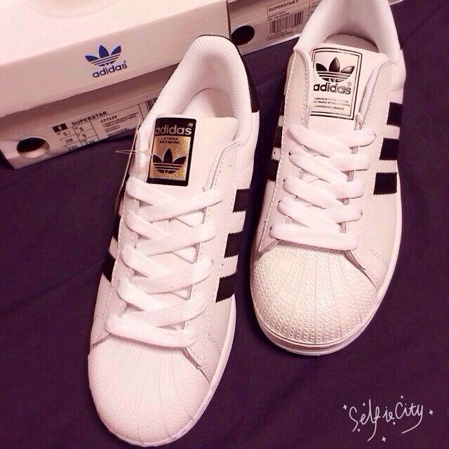 Adidas Superstar 黑白 金標