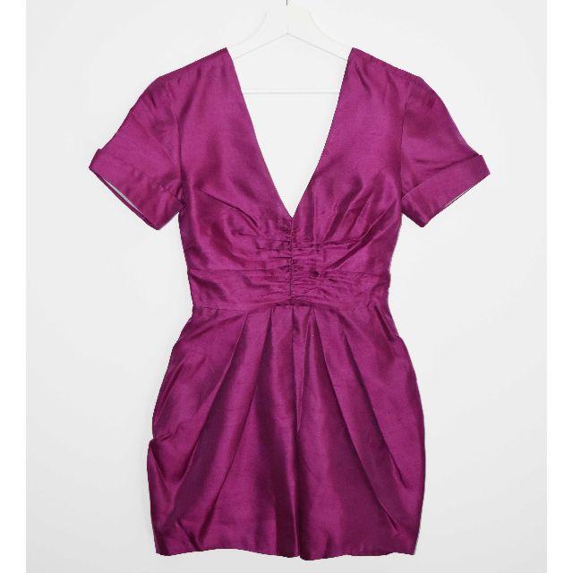 Nicola Finetti Purple V Neck Mini Dress - Size XS/S