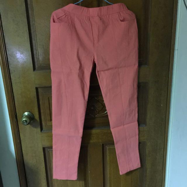 Ob 粉橘色長褲 (中大尺碼)