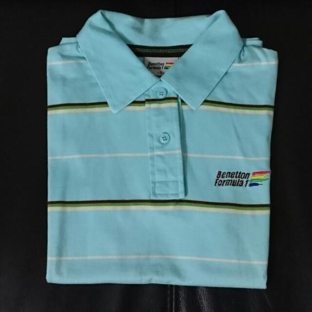 班尼頓Benetton藍色條紋polo衫上衣