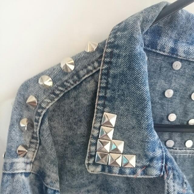 Studded Cropped Denim Jacket
