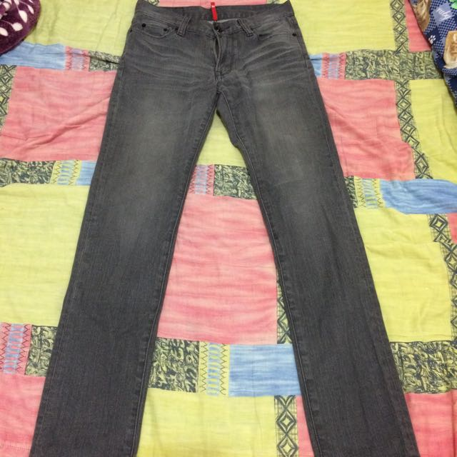 UNIQLO T100 近全新 鐵灰 淺灰  Skinny Slim 窄管牛仔褲 W30