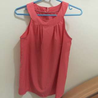 Coral Col Sleeveless Top