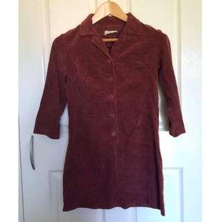 Vintage Corduroy Shirt Dress Size 8