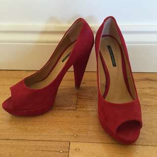 Tony Bianco - Cannes Red Kid Suede Heel (size 8, worn once)