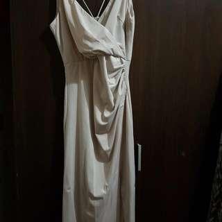 Silk Cream Long Dress