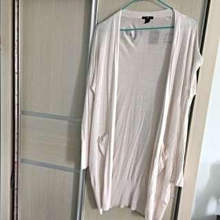 H&M 白色針織長版薄外套 外搭