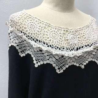 Ladies Black Crochet Long Sleeves Top