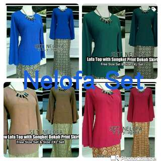 READYSTOCK!! NELOFA SET $55.00 INCLUDE MAIL. FREE SIZE AND SIZE 2XL ONLY. 1 SET EACH PIECE ONLY. RESERVATION WITH PAYMENT.