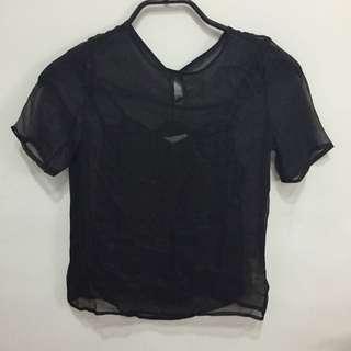 全新 Kodz 黑色透明薄紗兩件式