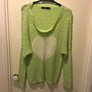 Lime Green Heart Jumper