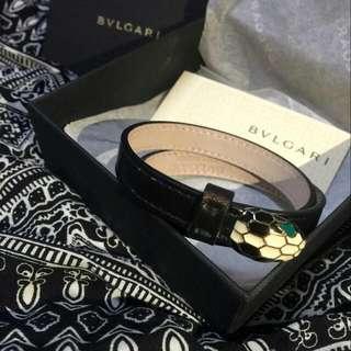 Bvlgari 寶格麗 琺瑯蛇頭雙圈皮革手環