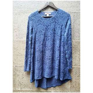 Preloved F21 Long Top Lace In Navy Blue