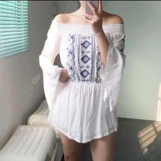 波希米亞風 一字領棉麻刺繡喇叭袖連身褲 洋裝