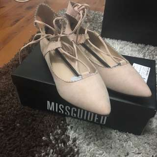 Missguided Scallop Edge Lace Up Flats