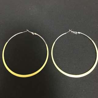 歐美大圈圈黃色耳環