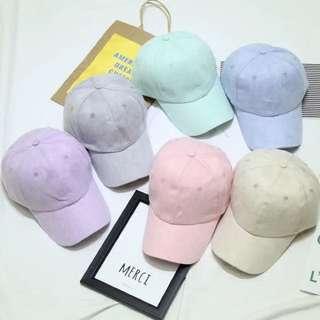 預購)韓國糖果色系麂皮棒球帽老帽鴨舌帽