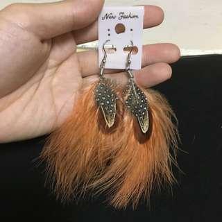 嬉皮民俗風羽毛耳環