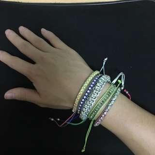 歐美民俗風彩色綁帶手環