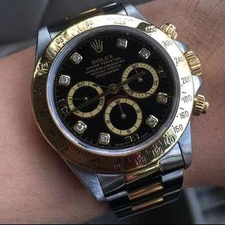 16523 Rolex Half Gold Daytona Diamonds