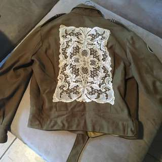 Hand sewed Doily on Army Jacket