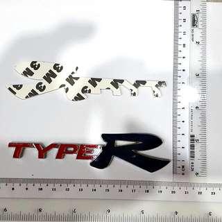 3D Type R metallic car decal
