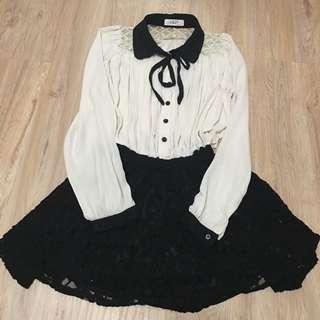 正韓 學院風 雪紡洋裝 可愛裙擺  原價3300