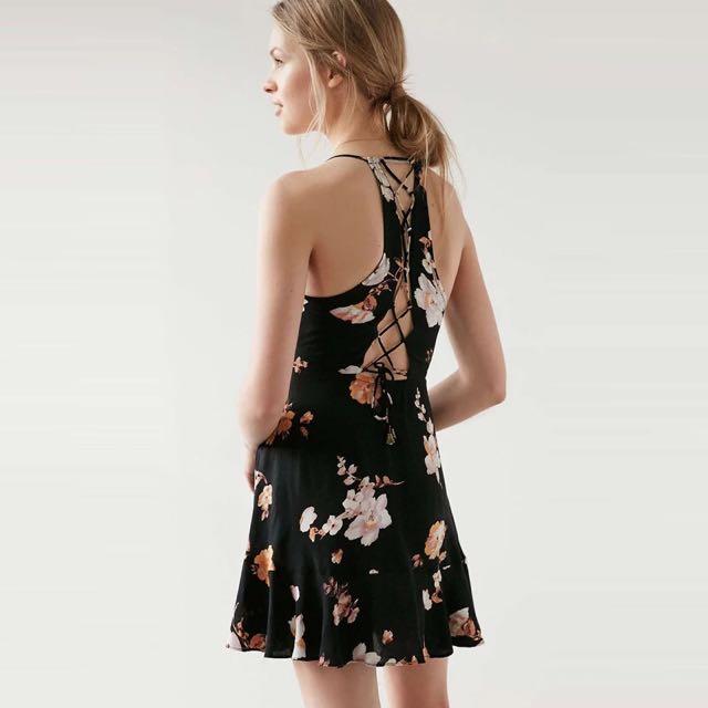 歐美細帶網狀印花連衣裙