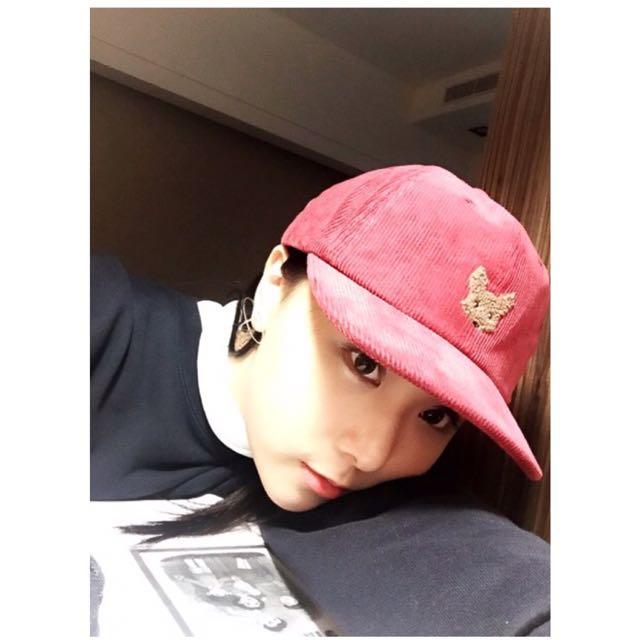 韓國可愛燈芯絨帽紅/黑