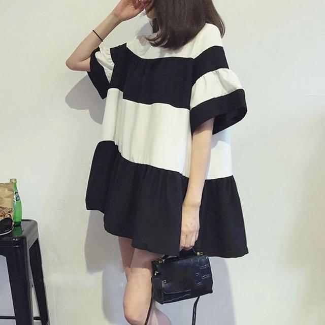 韓版喇叭袖寬條紋連衣裙