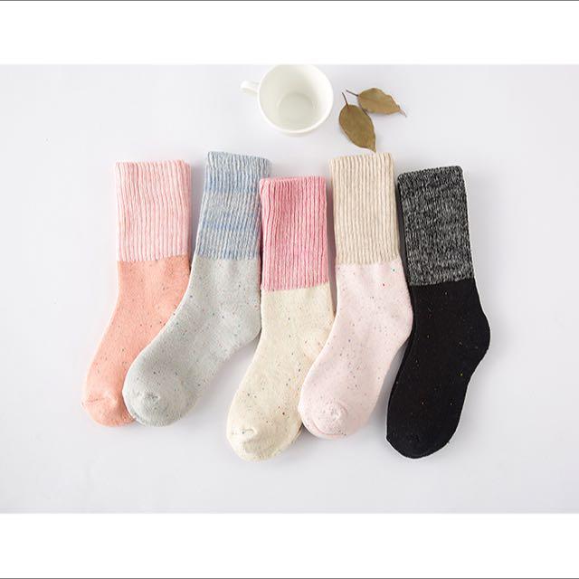 糖果色雙色襪子 可反折