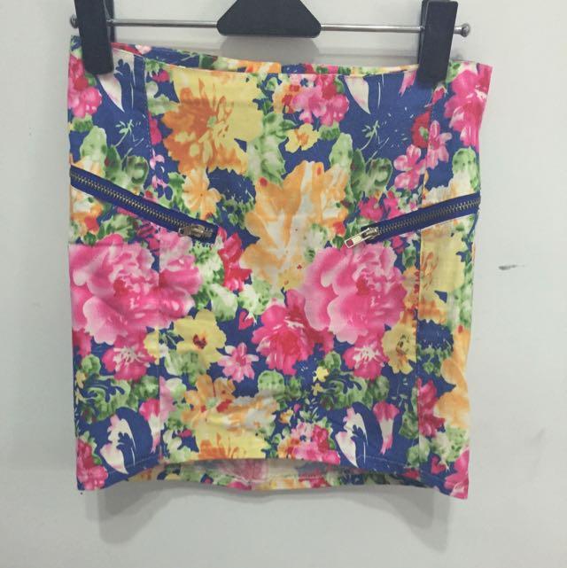 花卉圖案 短窄裙