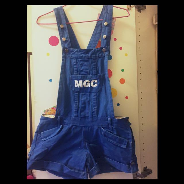 寶藍色吊帶褲 小口袋連身褲👖