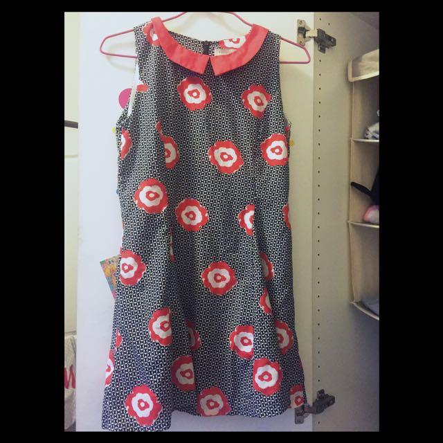 韓版 紅黑花洋裝👗