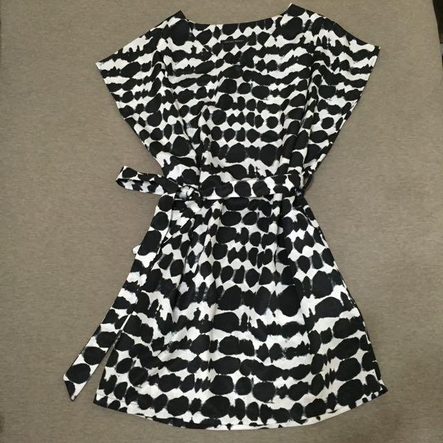 #韓貨-黑白紋#涼感 長版 洋裝