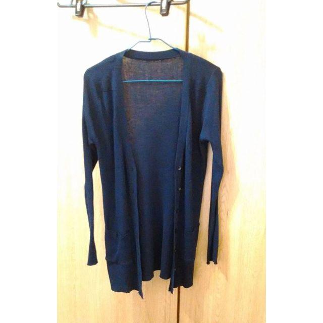 深藍色 長板針織外套 罩衫
