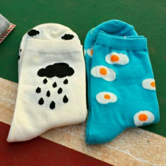 🎉特價 可愛雲朵卡通中筒襪 禮物 生日禮物 交換禮物
