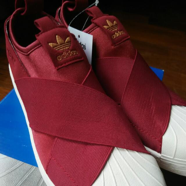best cheap d6be0 68a72 Adidas Superstar Slip Ons (Burgundy)